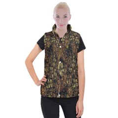 Wallpaper With Fractal Small Flowers Women s Button Up Puffer Vest