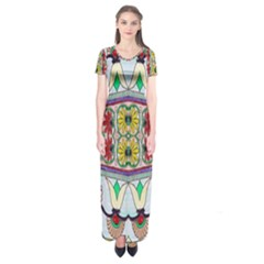 Kaleidoscope Background  Wallpaper Short Sleeve Maxi Dress