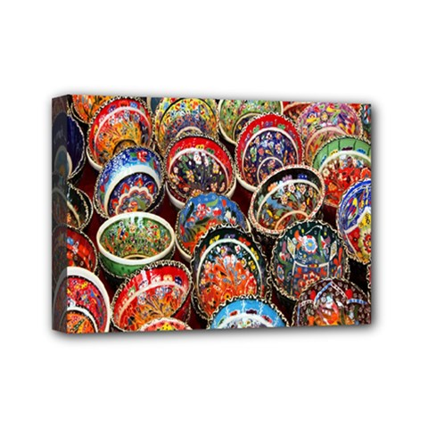 Colorful Oriental Bowls On Local Market In Turkey Mini Canvas 7  X 5