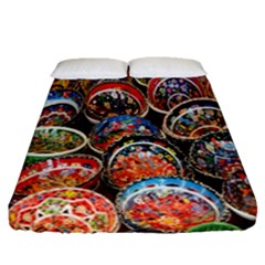 Colorful Oriental Bowls On Local Market In Turkey Fitted Sheet (queen Size)