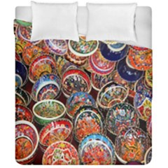 Colorful Oriental Bowls On Local Market In Turkey Duvet Cover Double Side (california King Size) by BangZart