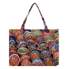 Colorful Oriental Bowls On Local Market In Turkey Medium Tote Bag