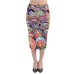 Colorful Oriental Bowls On Local Market In Turkey Velvet Midi Pencil Skirt by BangZart