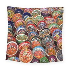 Colorful Oriental Bowls On Local Market In Turkey Square Tapestry (large)