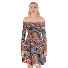Colorful Oriental Bowls On Local Market In Turkey Off Shoulder Skater Dress by BangZart