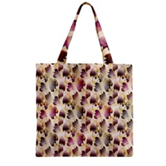 Random Leaves Pattern Background Zipper Grocery Tote Bag