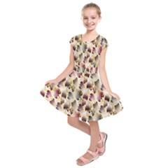 Random Leaves Pattern Background Kids  Short Sleeve Dress by BangZart