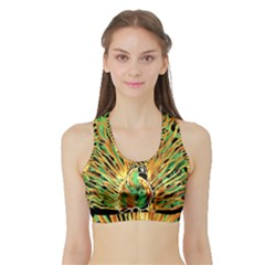 Unusual Peacock Drawn With Flame Lines Sports Bra With Border