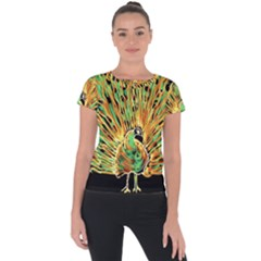 Unusual Peacock Drawn With Flame Lines Short Sleeve Sports Top
