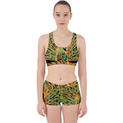Unusual Peacock Drawn With Flame Lines Work It Out Sports Bra Set