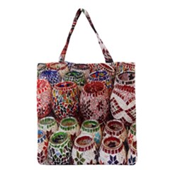 Colorful Oriental Candle Holders For Sale On Local Market Grocery Tote Bag by BangZart