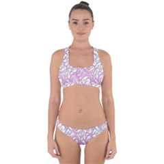 Floral Pattern Background Cross Back Hipster Bikini Set by BangZart