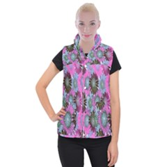Floral Pattern Background Women s Button Up Puffer Vest