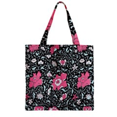 Oriental Style Floral Pattern Background Wallpaper Zipper Grocery Tote Bag by BangZart