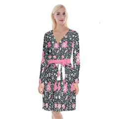 Oriental Style Floral Pattern Background Wallpaper Long Sleeve Velvet Front Wrap Dress