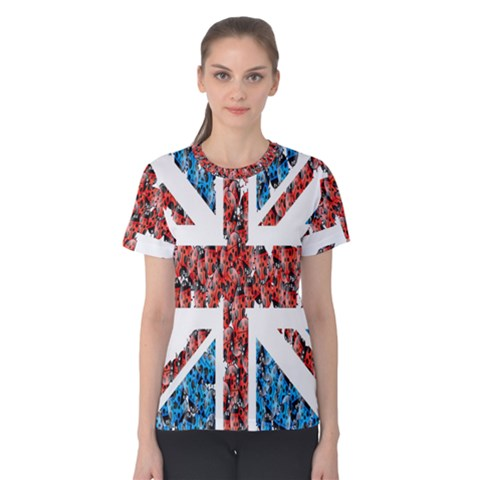 Fun And Unique Illustration Of The Uk Union Jack Flag Made Up Of Cartoon Ladybugs Women s Cotton Tee by BangZart