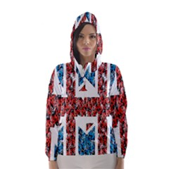 Fun And Unique Illustration Of The Uk Union Jack Flag Made Up Of Cartoon Ladybugs Hooded Wind Breaker (women) by BangZart
