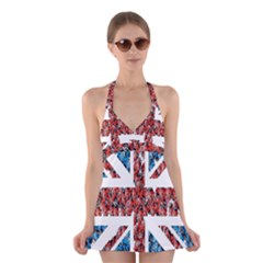 Fun And Unique Illustration Of The Uk Union Jack Flag Made Up Of Cartoon Ladybugs Halter Swimsuit Dress by BangZart