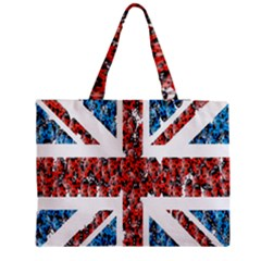 Fun And Unique Illustration Of The Uk Union Jack Flag Made Up Of Cartoon Ladybugs Medium Zipper Tote Bag by BangZart