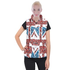 Fun And Unique Illustration Of The Uk Union Jack Flag Made Up Of Cartoon Ladybugs Women s Button Up Puffer Vest