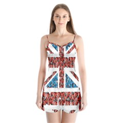 Fun And Unique Illustration Of The Uk Union Jack Flag Made Up Of Cartoon Ladybugs Satin Pajamas Set