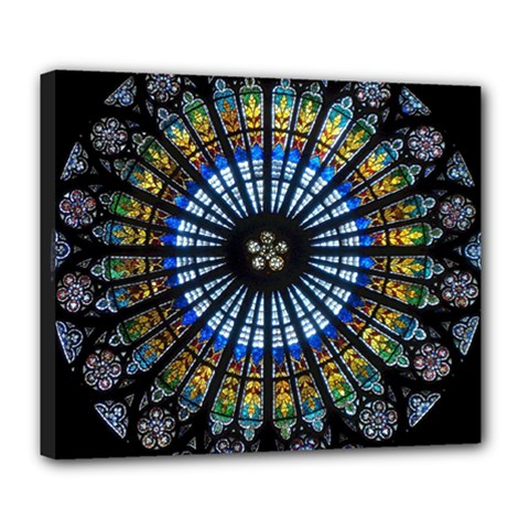 Stained Glass Rose Window In France s Strasbourg Cathedral Deluxe Canvas 24  X 20   by BangZart