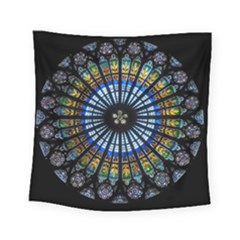 Stained Glass Rose Window In France s Strasbourg Cathedral Square Tapestry (small) by BangZart
