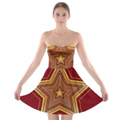 Christmas Star Seamless Pattern Strapless Bra Top Dress