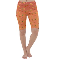 Peach Fruit Pattern Cropped Leggings
