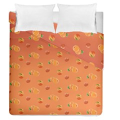 Peach Fruit Pattern Duvet Cover Double Side (queen Size) by paulaoliveiradesign
