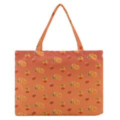 Peach Fruit Pattern Medium Zipper Tote Bag by paulaoliveiradesign