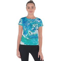 Blue Watercolors Circle                    Short Sleeve Sports Top by LalyLauraFLM