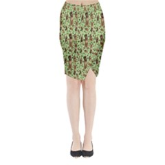 Puppy Dog Pattern Midi Wrap Pencil Skirt