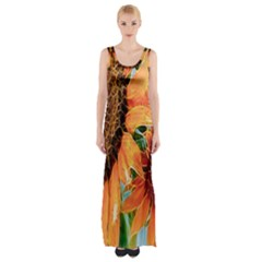 Sunflower Art  Artistic Effect Background Maxi Thigh Split Dress
