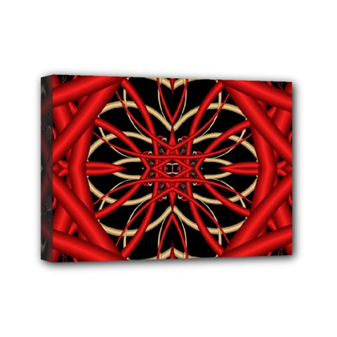 Fractal Wallpaper With Red Tangled Wires Mini Canvas 7  X 5  by BangZart