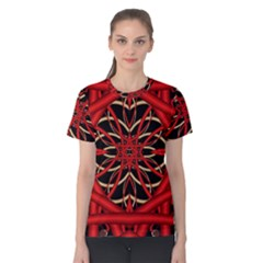 Fractal Wallpaper With Red Tangled Wires Women s Cotton Tee by BangZart
