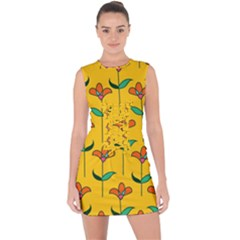Small Flowers Pattern Floral Seamless Pattern Vector Lace Up Front Bodycon Dress