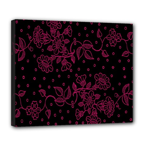Pink Floral Pattern Background Wallpaper Deluxe Canvas 24  X 20