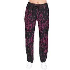 Pink Floral Pattern Background Wallpaper Drawstring Pants