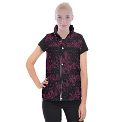 Pink Floral Pattern Background Wallpaper Women s Button Up Puffer Vest
