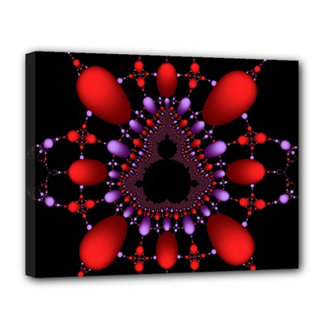 Fractal Red Violet Symmetric Spheres On Black Canvas 14  X 11  by BangZart