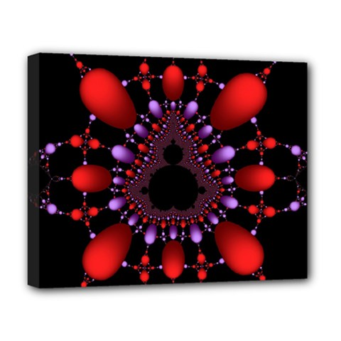 Fractal Red Violet Symmetric Spheres On Black Deluxe Canvas 20  X 16   by BangZart