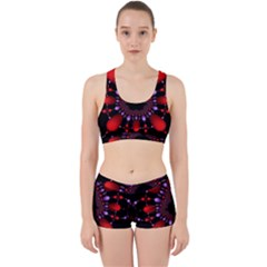 Fractal Red Violet Symmetric Spheres On Black Work It Out Sports Bra Set by BangZart