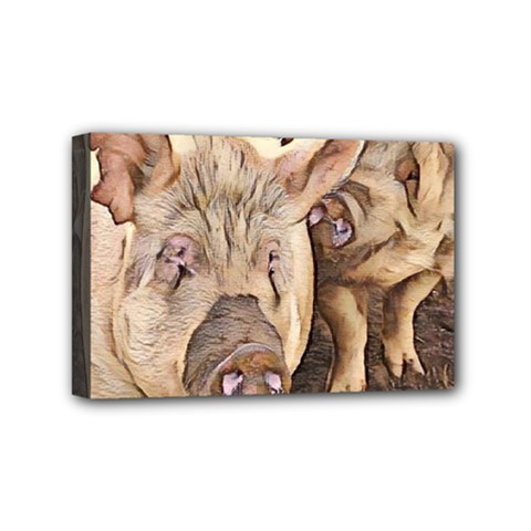 Happy Pigs Mini Canvas 6  X 4  by DeneWestUK