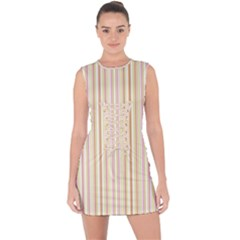Stripes Pink And Green  Line Pattern Lace Up Front Bodycon Dress