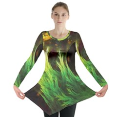 A Seaweed s Deepdream Of Faded Fractal Fall Colors Long Sleeve Tunic