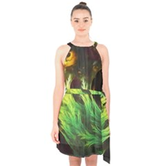 A Seaweed s Deepdream Of Faded Fractal Fall Colors Halter Collar Waist Tie Chiffon Dress by jayaprime