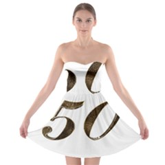 Number 50 Elegant Gold Glitter Look Typography 50th Anniversary Strapless Bra Top Dress