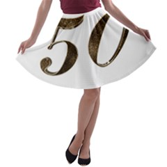 Number 50 Elegant Gold Glitter Look Typography 50th Anniversary A Line Skater Skirt by yoursparklingshop