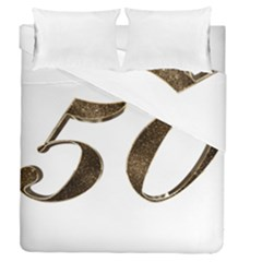 Number 50 Elegant Gold Glitter Look Typography Duvet Cover Double Side (queen Size) by yoursparklingshop